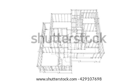 3D rendering hand draw wall construction of the house