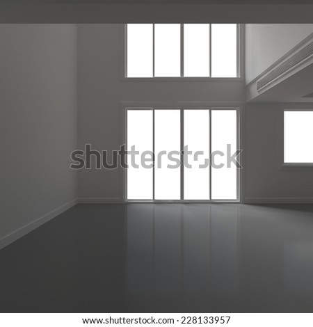 3d rendering. High resolution white blank room with window