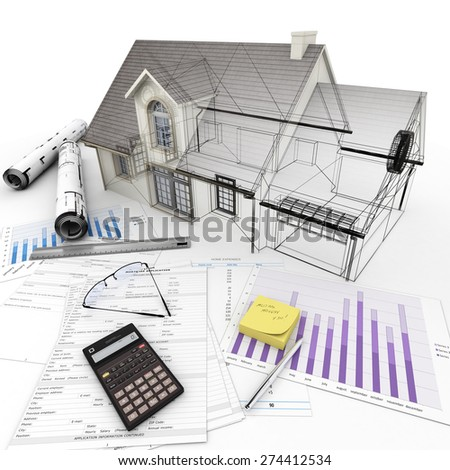 3D rendering Home Architecture model on top of a table with mortgage application form, calculator, blueprints, etc..  - stock photo