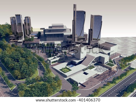 3d rendering - Hotel and administrative complex - - stock photo