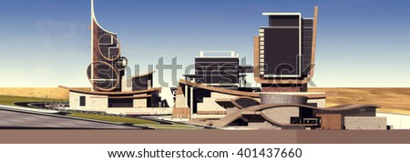 3d rendering - Hotel and administrative complex - East view - stock photo