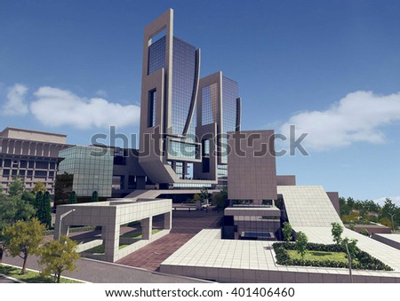 3d rendering - Hotel and administrative complex - View 2 - stock photo