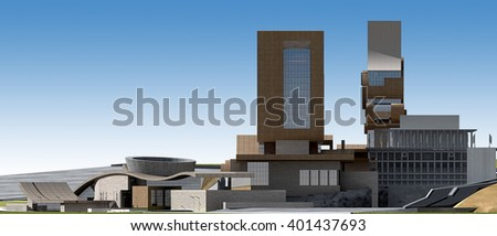 3d rendering - Hotel and administrative complex - West view