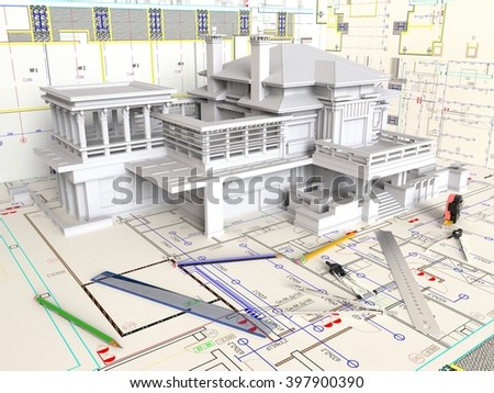 3d rendering house layout architectural drawings stock for Free architectural drawing program