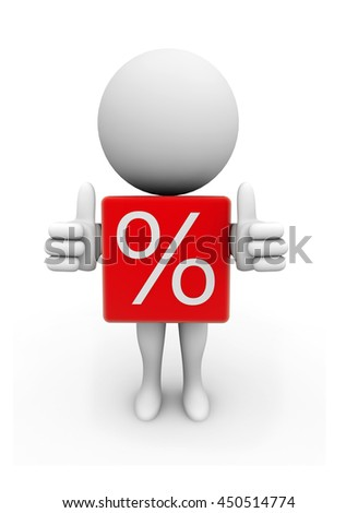 3d Rendering Human Character with percentage cube - stock photo