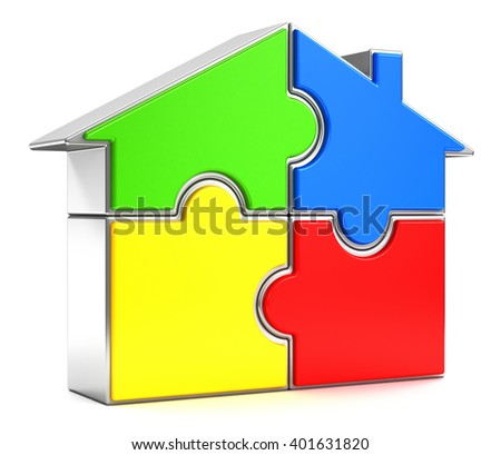 3d rendering illustration. House puzzle on white background.