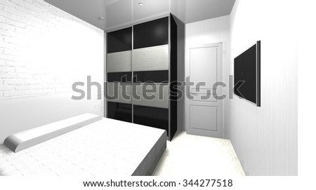 3D rendering illustration   interior design bedroom in black and white colors, wardrobe