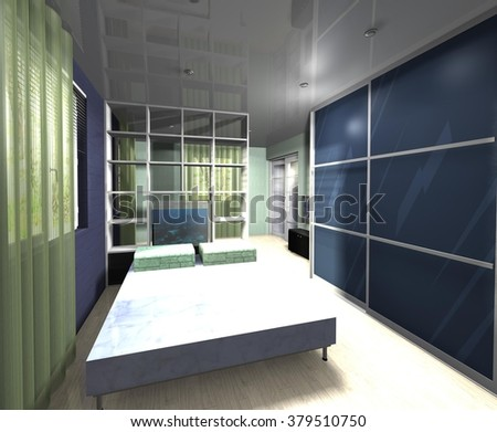 3D rendering  illustration interior design bedroom with a wardrobe with sliding doors