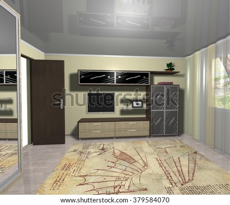 3D rendering  illustration interior design living room