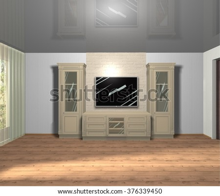 3D rendering illustration interior design living room furniture with TV in beige color