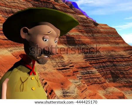 3d rendering illustration of a cartoon character high on a mountain showing fear when looking down
