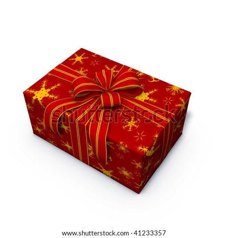 3d rendering/illustration of a red christmas present