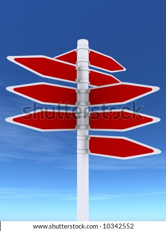 3d rendering illustration of a sign post.