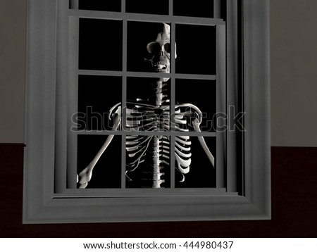 3d rendering illustration of a skeleton peering through a window at night
