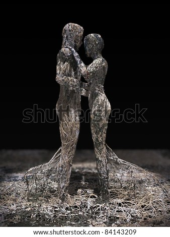 3d rendering illustration of a wire made couple