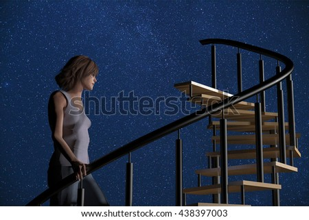 3d rendering illustration of a young woman ascending a spiral stairway to the stars