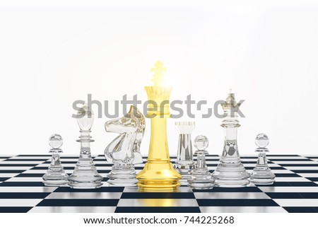 3D Rendering : illustration of chess pieces.the glass king chess at the center with other chess piece in the back. chess board with light background. leader success concept. business leader concept