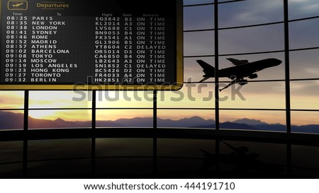 3D rendering illustration of departures digital timetable against of evening sky with flying aircraft - stock photo