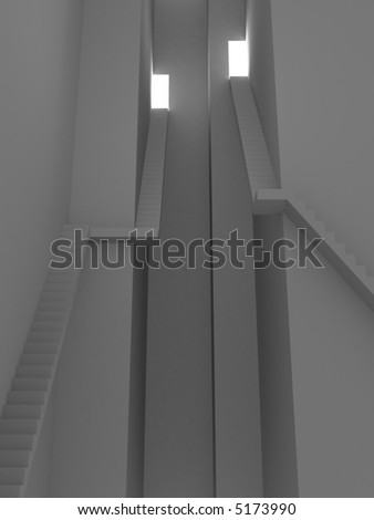 3d rendering illustration of high stairs