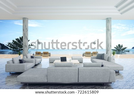 3d Rendering : Illustration Of Interior Living Room And Swimming Pool In  House Or Resort.