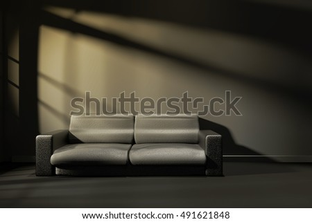 3D Rendering : illustration of interior room of modern black feeling with modern leather sofa furniture at the middle of room, morning or sunset light