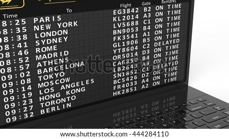 3d rendering Illustration of laptop screen with airport schedule