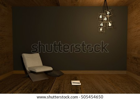 3D rendering : Illustration of night scene Modern interior with chair and note book put on wooden floor against black wall background. warm light lamp hanging on ceiling