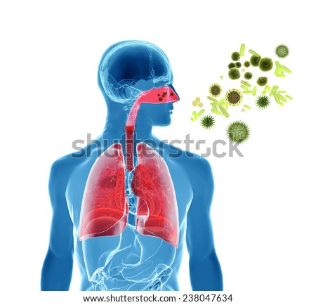 3d rendering illustration of pollen, virus or influenza infection - stock photo