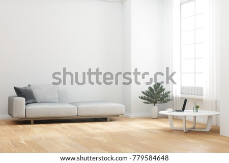 3D Rendering : Illustration Of Relax Zone Living Room Of The House. Cozy  Grey Long