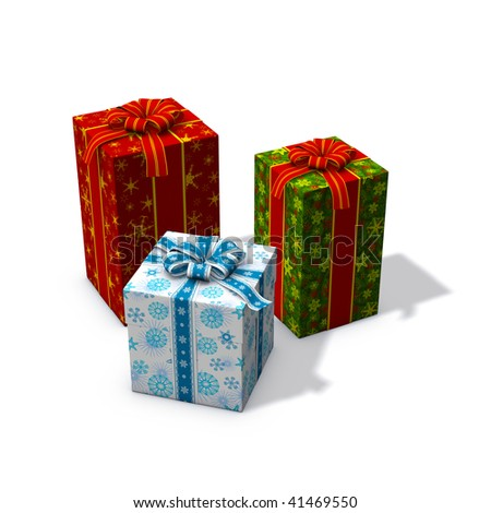 3d rendering/illustration of three red and green christmas presents
