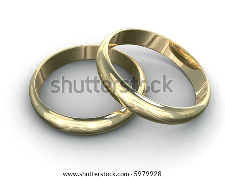 3d Rendering Illustration Of Two Wedding Rings