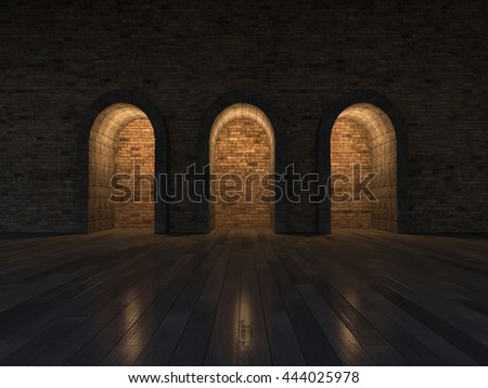 3d rendering image of 3 arch door made by stone place on the wooden floor and old brick wall, night scene - stock photo
