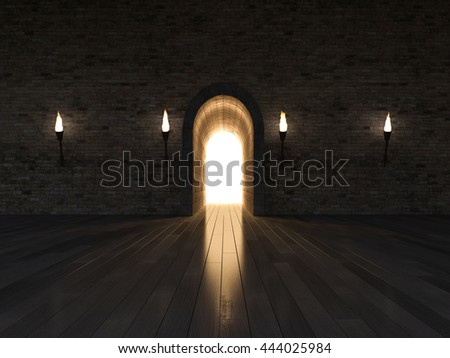 3d rendering image of 3 arch door made by stone place on the wooden floor and old brick wall, night scene,torch on the wall - stock photo
