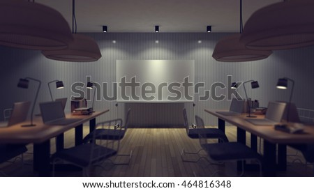 3d rendering image of working room which have a blank white board for fill your words, depth of field style, focus on white board, night scene perspective in soft light with vintage filter.