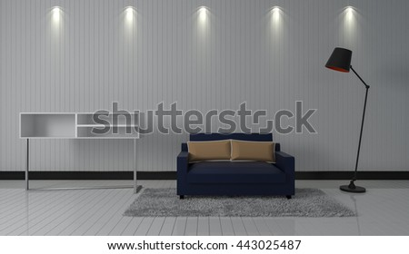 3D rendering interior modern living room with a chair, floor lamp and white wall.