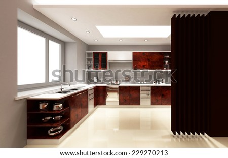 3d rendering. Interior of modern apartment, kitchen room with large windows