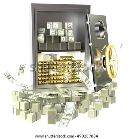 3D rendering iron safe with money and golden bars