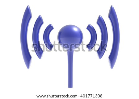 3d rendering isolated wifi symbol on white background. - stock photo