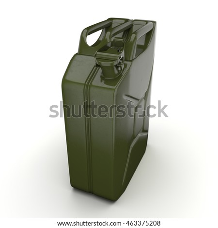 3D rendering khaki jerrycan on white background