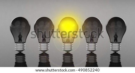 3d rendering light bulbs standing on black background