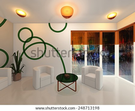 3D rendering. Light hall, behind a window a rain - stock photo