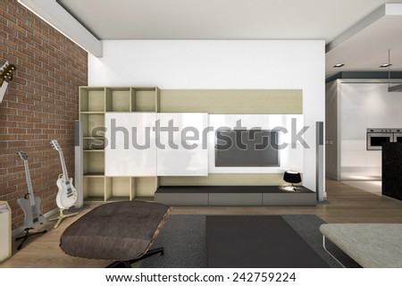 3D rendering living room with brick wall