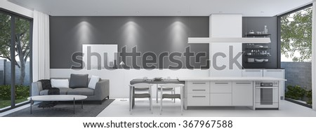 3d rendering living room with dining room and down light - stock photo