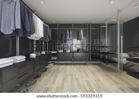 3d Rendering Loft Dark Walk In Closet And Living Room