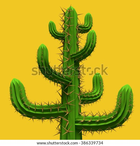 3d rendering. Low poly cartoon stylized  cactus. Plant isolated on vivid yellow background.   - stock photo