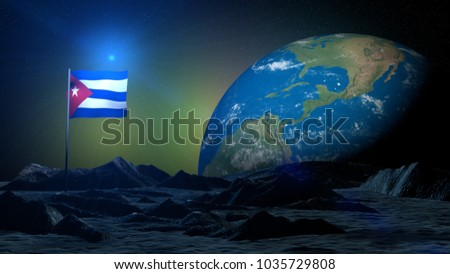 3D rendering lunar terrain on Earth planet with Cuba flag
