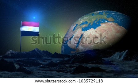 3D rendering lunar terrain on Earth planet with Egypt flag