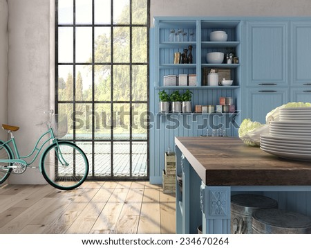 3D rendering. Luxurious kitchen with stainless steel appliances in a apartment. - stock photo