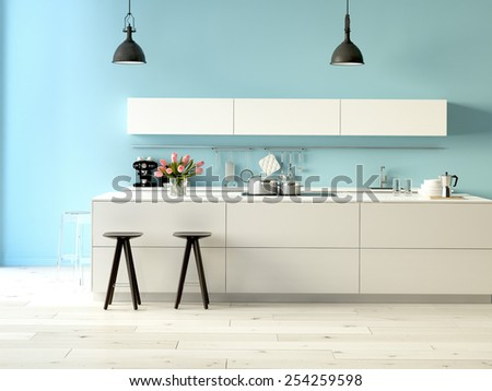 3d rendering. Luxurious kitchen with stainless steel appliances in a modern apartment - stock photo