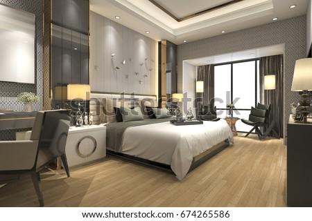 3d rendering luxury modern bedroom suite in hotel - Luxury Modern Bedroom